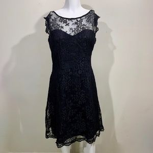 Monique Lhuillier Lace Sheath Dress Black